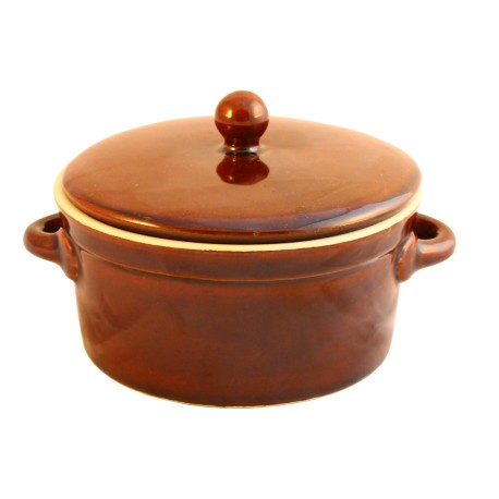 Garnek ceramiczny z pokrywką 0,5L brązowy