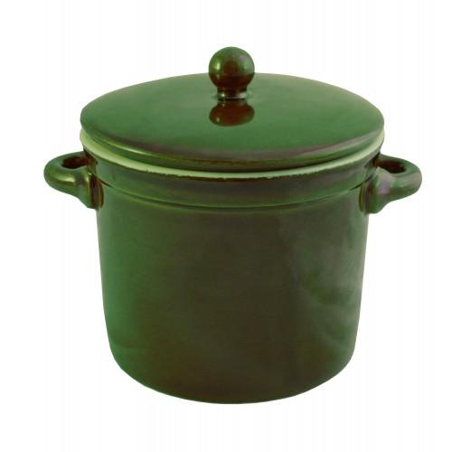 Garnek ceramiczny z pokrywką 1L zielony