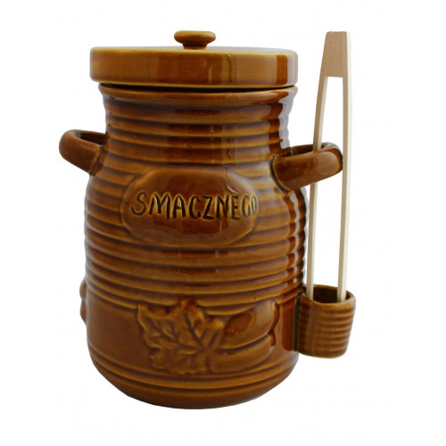 Pojemnik ceramiczny 1,5L na ogórki ze szczypcami miodowy