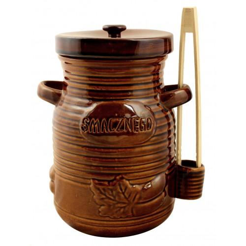 Pojemnik ceramiczny 1.5l na ogorki ze szczypcami miodowy