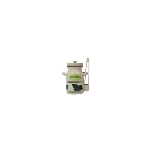 Pojemnik ceramiczny 3.5l na ogorki ze szczypcami biały