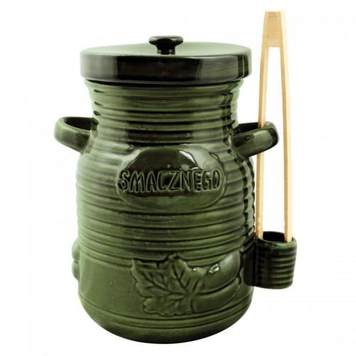 Pojemnik ceramiczny 1,5L na ogórki ze szczypcami - zielony